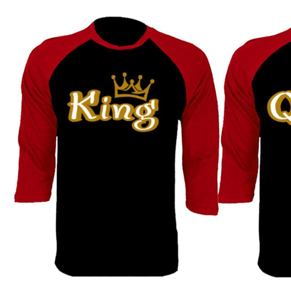 3f51a37604 Gold King And Queen Couple Matching Black/Red Baseball Shirts   Groupon