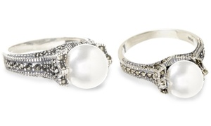 Freshwater Pearl And Genuine Marcasite Sterling Silver Ring