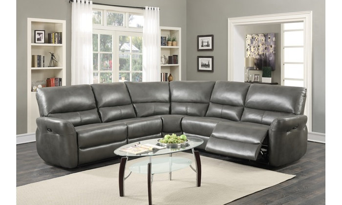 Brilliant Amaris Bonded Leather 5 Piece Power Reclining Sectional Sofa Caraccident5 Cool Chair Designs And Ideas Caraccident5Info