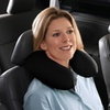 U Shaped Neck Massage Microbead Pillow, Battery Operated Vibration (Red & Black)