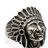 Stainless Steel Tribe Apache Indian Chief Head Men's  Ring