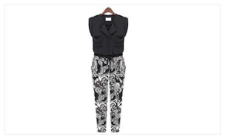Women Printed Stitching Jumpsuit Trouser Style - TCWJ024-TCWJ025