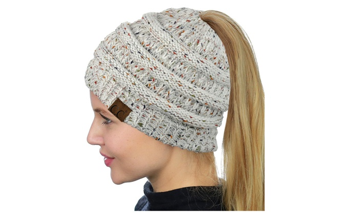 e3cf3b5bd40bc9 C.C BeanieTail Soft Stretch Cable Knit Messy High Bun Ponytail Beanie