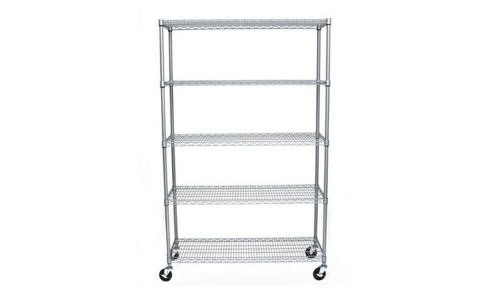 5-Tier Outdoor Wire Shelving Rack with Wheels