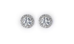 Sterling Silver & Crystal Halo Stud Earrings
