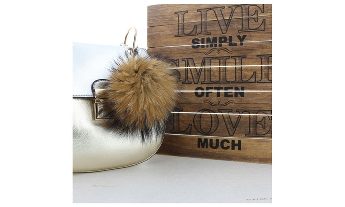 Fox Fur Pompom Ball Key Chain Charm - Leopard