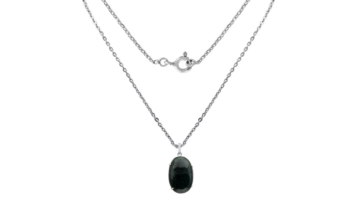 Natural Green Jade Gemstone 925 Sterling Silver Marcasite Necklace Pendant
