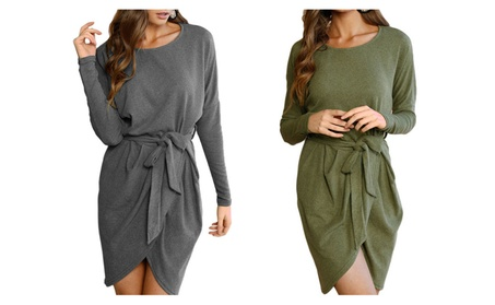 Women Long Sleeve Wrap Mini Dress a4c572e5-fac1-4bce-9856-a6f694126ec9