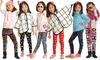 Angelina Girls' Soft Velvet Printed Leggings