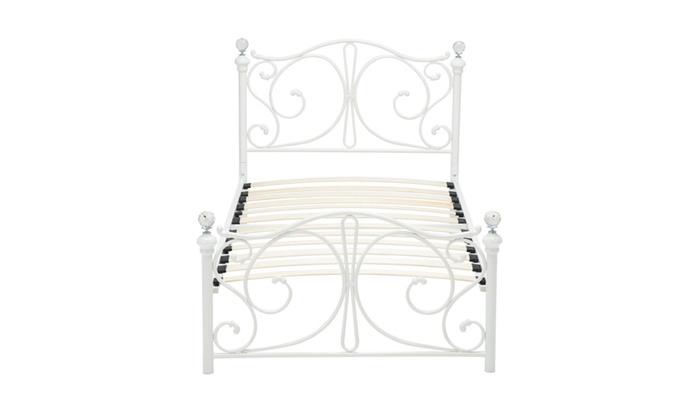 Twin Size White Metal Bed Frame Finial Headboard Footboard Bedroom ...
