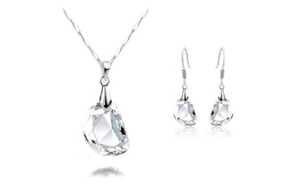 KATGI 18K White Gold Plated Simple and Elegant Pea Shape Crystal Earrings and necklace Set