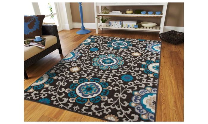 Modern 5x7 blue beige black moroccan rug 5x8 area dining for Dining room rugs 5x7