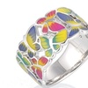 Colorful Transparency Enamel Butterfly Flower Ring for Woman