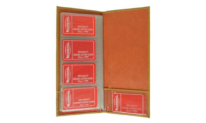 Genuine Leather Large Business Card Holder Book Organizer Groupon