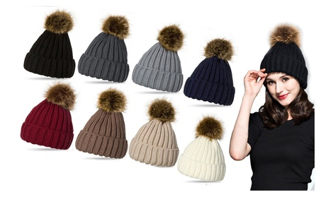 Women Knit Hat Winter Beanie with PomPom Slouchy Stretch Warm Hats Cap a50ae9e8-70e2-4920-8aad-229c49e2805f
