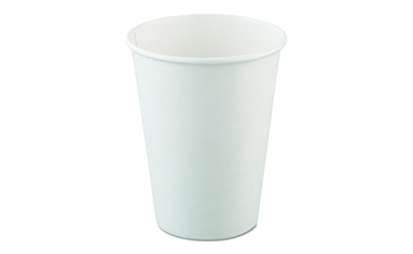 Solo Cups 412WN Single-Sided Poly Paper Hot Cups, 12oz, White, 50/Bag, 38a39f4b-ce60-4c84-a7c3-d7d09d32d88e