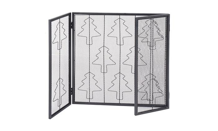 Folding 3 Panel Steel Fireplace Screen Doors Heavy Duty Christmas