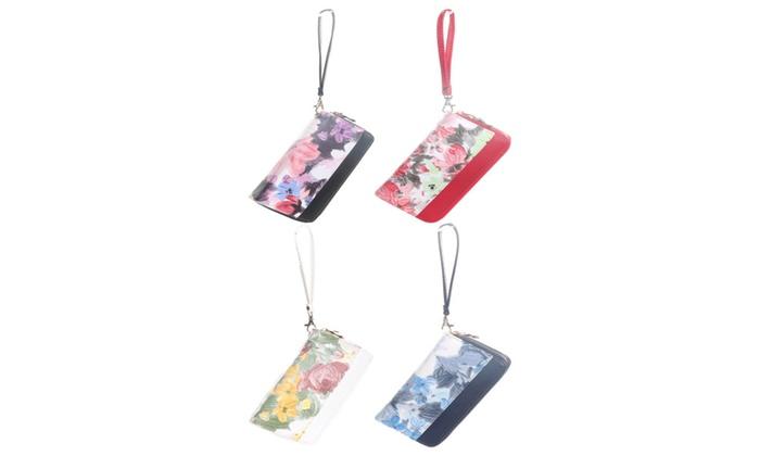 Hadari Women's Double Zipper Flower Print Wallet