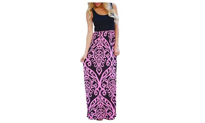 Womens Summer Contrast Sleeveless Tank Top Floral Print Maxi Dress