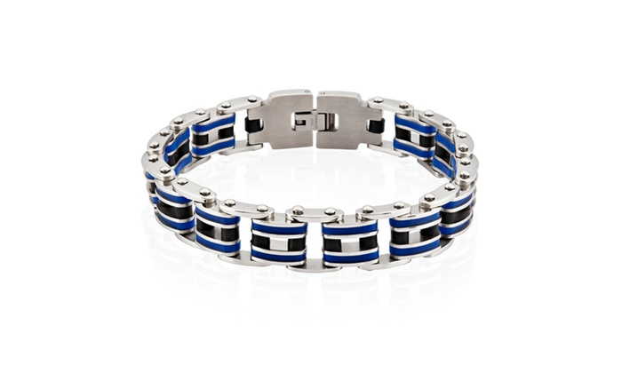 Groupon Goods: Men's Stainless Steel Blue Rubber Link Bracelet - 9 inches (15 mm)
