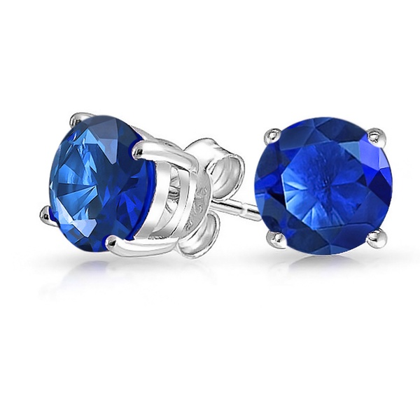 Basket Set Stud Earring Round Simulated Blue Zircon 925 Sterling Silver