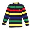 Men's Fashion Striped Square Neckline Ribbed Hem Polo Shirt