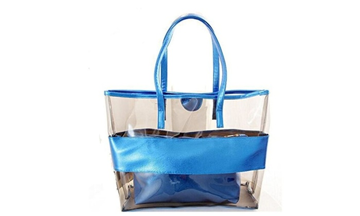 Waterprof Semi-clear Tote Stripe Beach Shoulder Bag