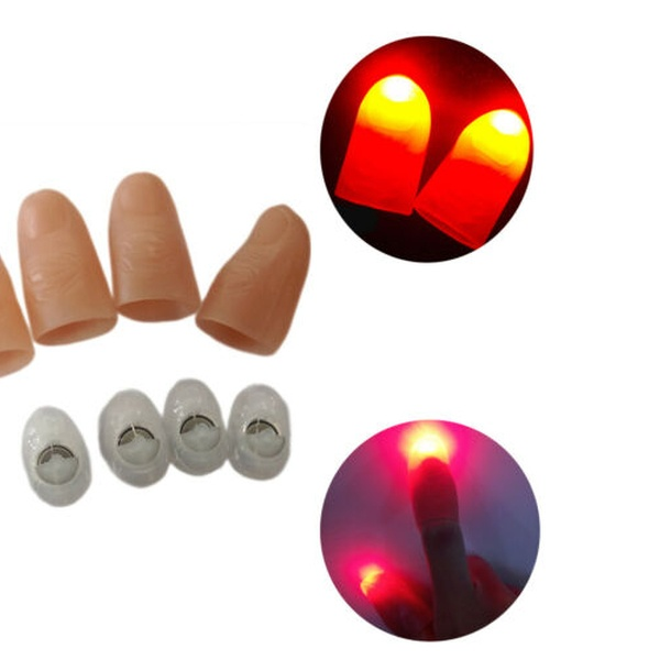 LED Finger Thumbs Light Red Color Magic Prop Party Bar Show Lamp Magician US