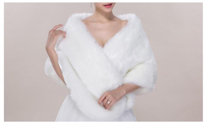 Women's Faux Fur Wrap Cape Shawl Jacket - White