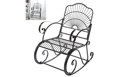 Outdoor Garden Single Iron Art Rocking Chair Black