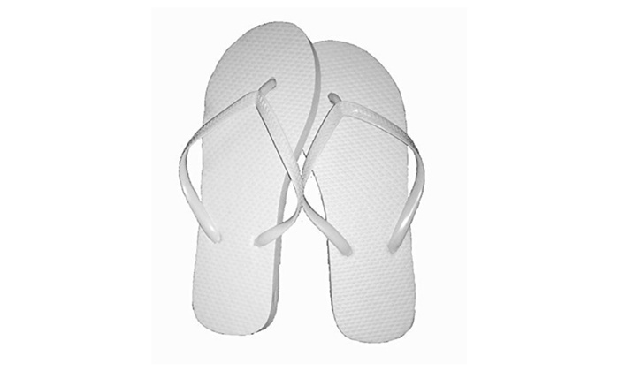 Women white flip flops, 48 pairs, assorted sizes