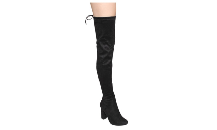 Beston DE01 Women Block Heel Drawstring Over The Knee Thigh High Boot