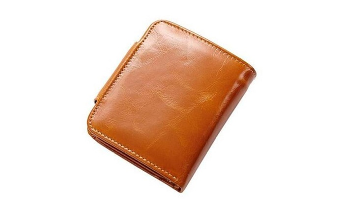Xmenhere: Unisex Oil Wax Genuine Leather Folded Purse Wallet Card Holder