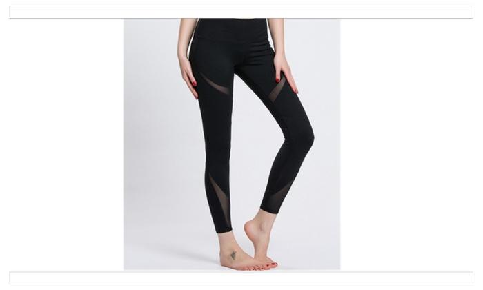 Womens Running Yoga Pants Workout Mesh Patchwork Ninth Leggings