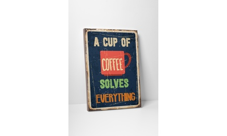 "Vintage Sign ""A Cup of Coffee"" Gallery Wrapped Canvas Art 8edfded8-274c-4a75-a5a3-636c18b801a8"