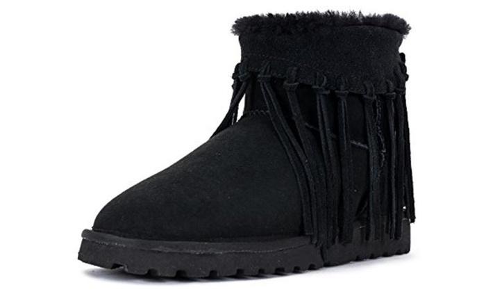 Women's Snow Boots Long Tassel Quality Sheepskin Lining Winter Shoes
