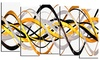 Grey and Gold Waves - Contemporary Wall Art - 60x32 - 5 Panels