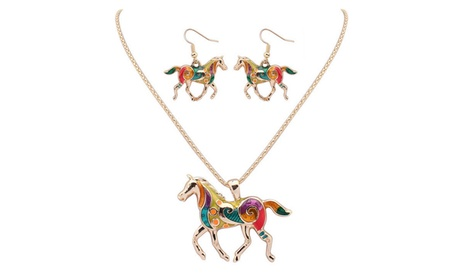 Colored Horse Pendant Necklace with Earrings Jewelry Sets