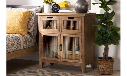 Clement Medium Oak 2-Door 2-Drawer Wood Spindle Accent Storage Cabinet