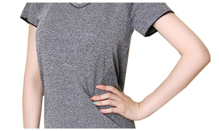 Women's Solid Athletic Ribbed Hem Casual Fitness Clothing Tops