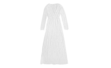 Women Floral Lace Floor-Length See Through Deep V Adjust Waist Dress fa17ebd7-1080-4cad-9dd7-81adfaa1f56d