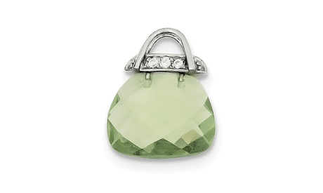 Sterling Silver Green Synthetic CZ Purse Pendant (Goods Jewelry & Watches Fashion Jewelry Necklaces) photo