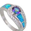 925 Sterling Silver Blue Rainbow Cubic Zirconia Opal Women's Ring