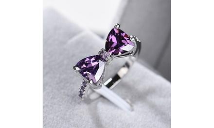Women 925 Sterling Silver Gemstone Amethyst Diamond Ring Bow Ring