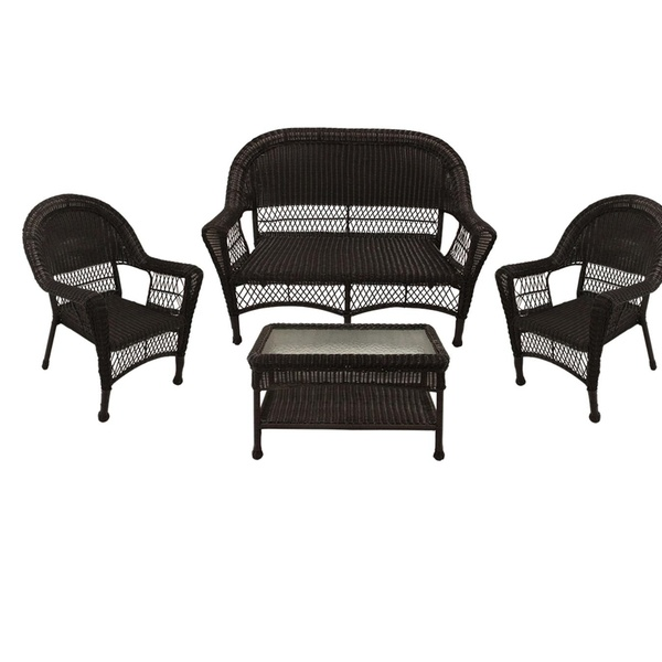 4 Brown Resin Wicker Patio Furniture Set 2 Chair Loveseat Coffee Table