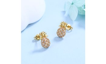 Pineapple Studs with Swarovski Crystals in 18k Gold