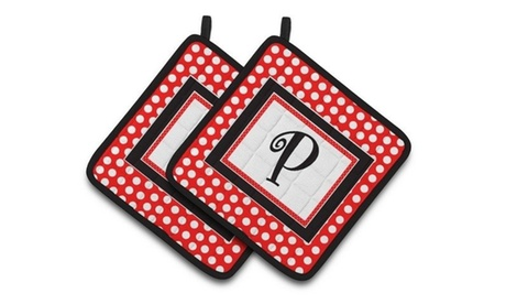 Carolines Treasures CJ1012-PPTHD Letter P Initial Monogram Red Black Polka Dots photo