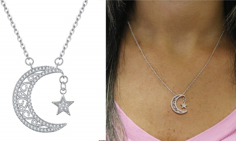 Crescent Moon and Star Crystal Necklace Made With Crystals From Swarovski