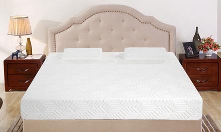 """12"""" 3 Layer Cool Medium Firm Memory Foam Mattress Bed w/ 2 Pillows"""
