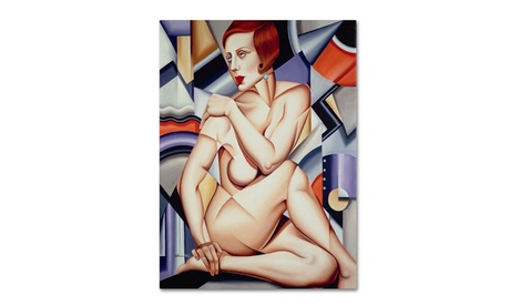 Catherine Abel 'Cubist Nude Orange and Purple' Canvas Art aea00468-0096-4275-a901-1d9cc1e240e6